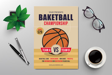 basketball championship flyer template, retro flat design vector