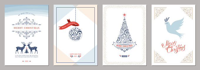 Wall Mural - Elegant vertical winter holidays greeting cards.
