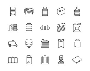 Water tank flat line icons set. Liquid storage, plastic container, rainwater harvesting, oil plastic barrel, vector illustrations. Outline signs for aqua industry. Pixel perfect 64x64 Editable Stroke