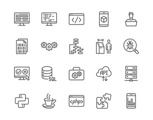 Software development flat line icons set. Programming language, application, api, computer program develop vector illustrations. Outline signs for website design. Pixel perfect 64x64. Editable Stroke