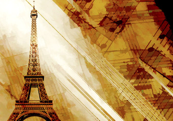 Vintage grunge background with old paper texture and Eiffel Tower