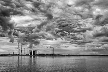 Dramatic landscape over the Halmstad harbour
