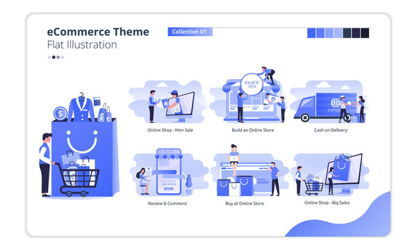 Collection of e-commerce theme illustrations for online shop business