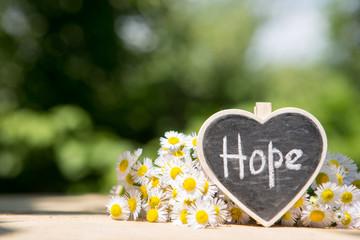 Hope - inscription on the heart, sharing hope concept, green bokeh background Fotomurales
