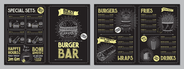 Door stickers Restaurant Burger bar menu template - A4 card (burgers, wraps, french fries, drinks, sets)
