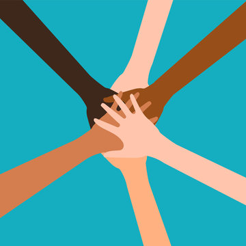 Hands of diverse group of people putting together isolated on white background. Vector illustration.