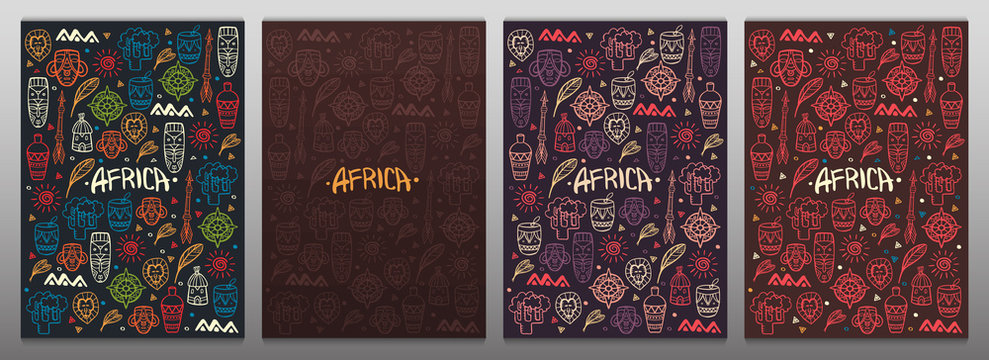 Set of Hand draw doodles banners of Africa word. Colorful illustration. Background with lots of objects.