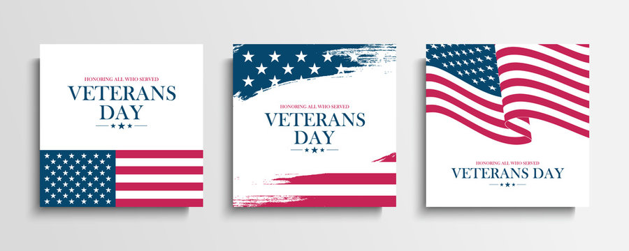 USA Veterans Day greeting cards set with United States national flag. Honoring all who served. United States national holiday vector illustration.