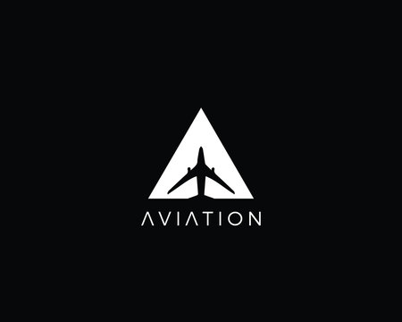 Creative and Minimalist Letter A Aviation Logo Design Icon | Editable in Vector Format in Black and White Color