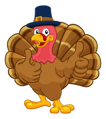 Pilgrim Turkey Thanksgiving bird animal cartoon character wearing a pilgrims hat and giving a thumbs up