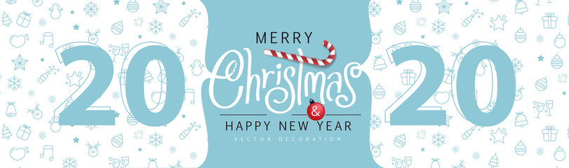 Wall Mural - Merry Christmas and Happy New Year background for Greeting cards banner.Merry Christmas vector text Calligraphic Lettering Vector illustration.