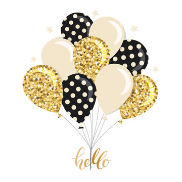 Glossy balloons bunch. Gold glitter, polka dots, beige colors. For birthday, baby shower or holidays design.