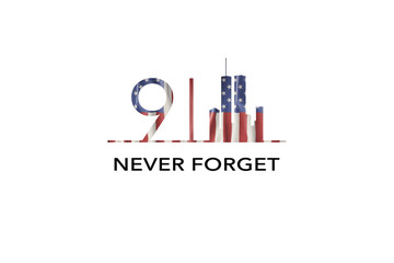 American National Holiday. US Flag background with American stars, stripes and national colors. New York. Text: NEVER FORGET