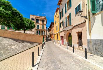 Typical street in Palma de Mallorca.