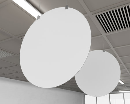 White Blank Banners Template. Circle Shape Hangers in Supermarket. 3D rendering