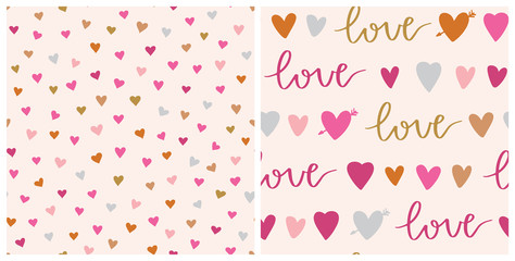 Set of Valentines day vector patterns. Seamless heart pattern and love phrase. Hand drawn abstract vector background.