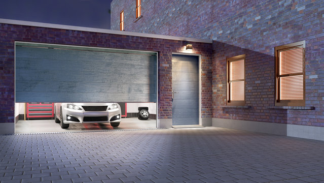 Garage entrance with open sectional doors. 3d illustration