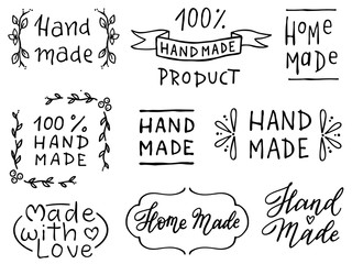 Estores personalizados para cocina con tu foto Set of hand drawn simple phrases home made and hand made. Prints for menu, restaurants or cafe, stamps or as separate elements. Ink, pen outline, black and white vectors.