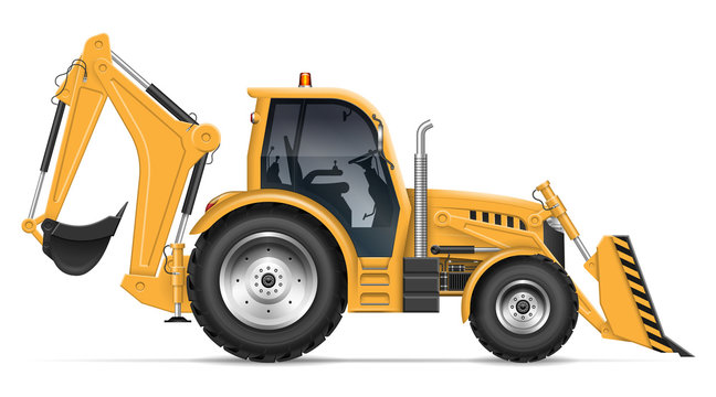 Realistic backhoe loader vector illustration