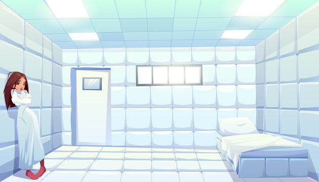 Woman in straitjacket in asylum, girl patient of mentally clinic. Madhouse room with bed, padded soft floor and walls. Psychiatric hospital for people with mental disorder. Cartoon vector illustration
