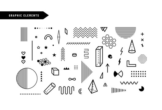 Geometric graphic elements. Set of geometrical shapes for abstract vector background design in trendy simple memphis style