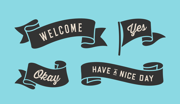 Ribbon Banner. Set of black ribbon banner with text, phrase