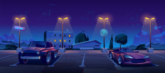 Car parking at night city, luxury automobiles stand in row under glowing street lamps, bar pointer and park sign for transport on cityscape background. Modern metropolis. Cartoon vector illustration