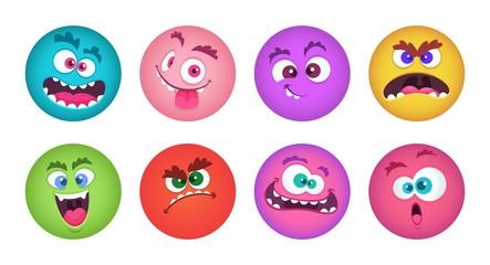 Monsters faces. Cartoon monster avatars vector set. Strange alien face, demon creature illustration