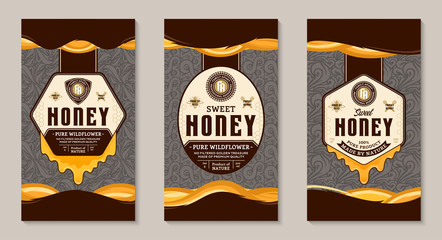 Honey labels and packaging design templates