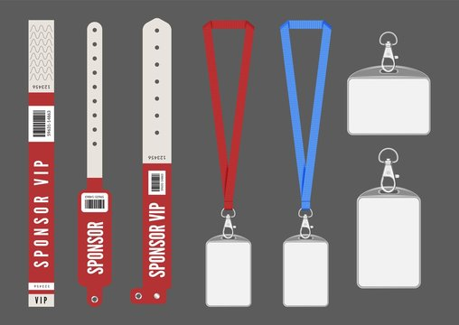 Badge mockup. Red cards lanyard bracelets for ID. Vector entrance keys for events. Identity card authentication, organization backstage to conference pass illustration