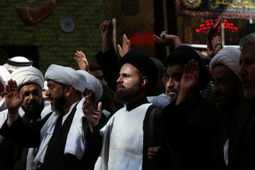 Shi'ite pilgrims gather ahead of Ashura, the holiest day on the Shi'ite Muslim calendar in the holy city of Kerbala