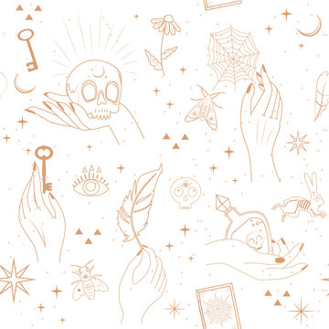 Seamless pattern with Astrology, esoteric  and Space concept with mystical and mysterious objects. Minimalistic objects made in the style of one line. Editable vector illustration.