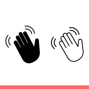 Hand wave icon set in flat isolated on white background, hello vector illustration for web site or mobile app