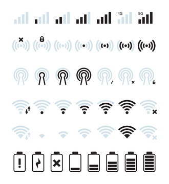Phone mobile signal. Wifi and mobile status bar connection icon gsm batteries level vector pictures. Illustration battery and signal, wifi, mobile phone status