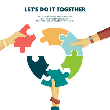 Puzzle in hand. Business concept man put piece of jigsaw together finish work final project good partners vector puzzle background. Illustration jigsaw, support together, piece puzzle connection