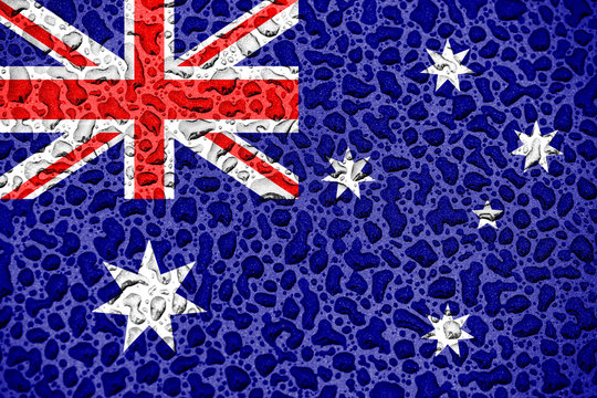 Australia national flag made of water drops. Background forecast season concept.