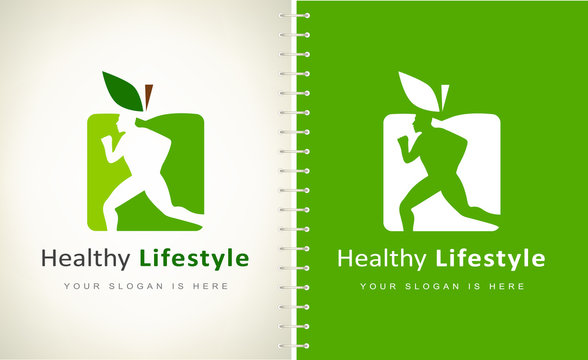 Man and apple logo. Healthy lifestyle. The man is running. Diet and weight loss concept.