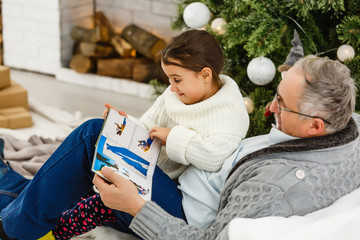 The granddaughter and a grandfather watch a photo album near the christmas tree