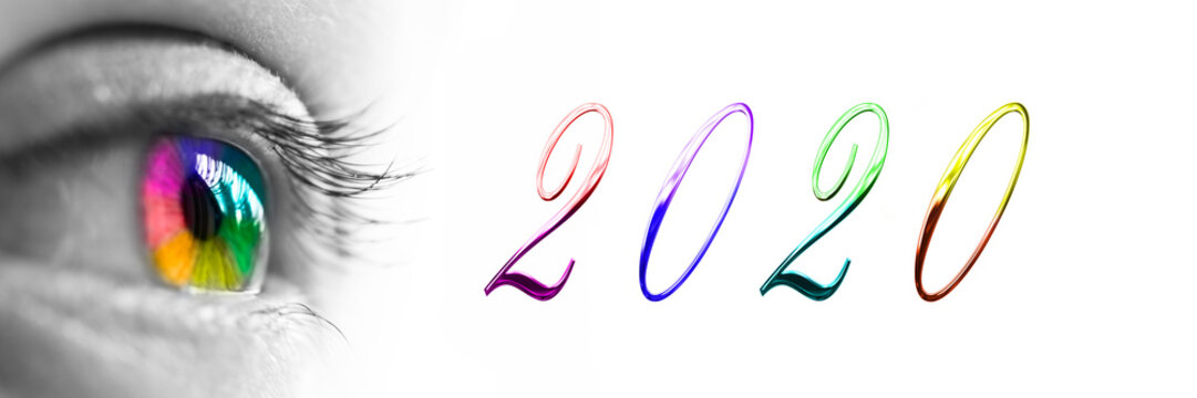 2020 and colorful rainbow eye headeron panoramic white background, 2020 new year greetings concept