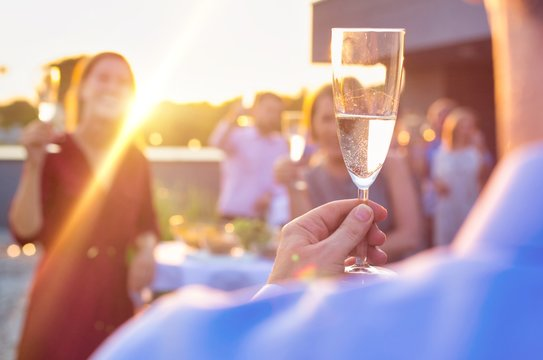 Mature businessman toasting wineglass with colleagues during success party on rooftop