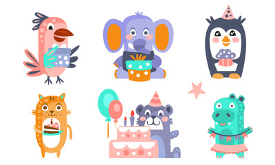 Wall Mural - Cute Cartoon Animal Characters Set, Childish Birthday Party Design, Parrot, Elephant, Penguin, Cat, Bear, Crocodile Vector Illustration