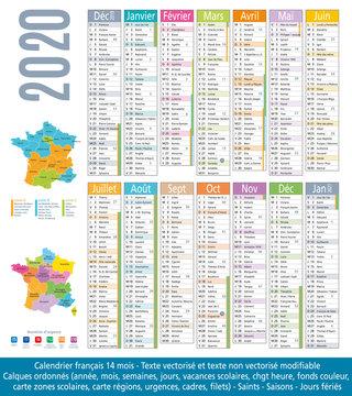 2020-Calendrier 14 mois-Carte régions et académies-2