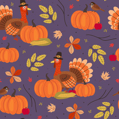 seamless pattern with Thanksgiving day elements - vector illustration, eps