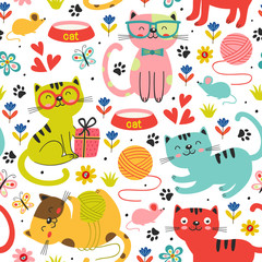 seamless pattern with colorful cats in flowers - vector illustration, eps