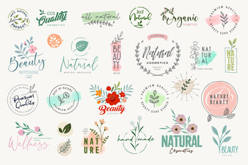 Wall Mural - Set of badges and elements for beauty, natural and organic products, cosmetics, spa and wellness. Vector illustrations for graphic and web design, marketing material, product promotions, packaging des