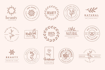 Wall Mural - Set of elegant badges and stickers for beauty, natural and organic products, cosmetics, spa and wellness. Vector illustrations for graphic and web design, marketing material, product promotions, packa