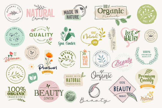 Set of signs and elements for beauty, natural and organic products, cosmetics, spa and wellness. Vector illustrations for graphic and web design, marketing material, product promotions, packaging desi