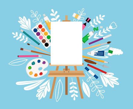 Easel for painting workshop. Paint artists workspace concept, vector painter worker artistic design studio canvas and picture image materials, painting background