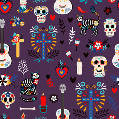 Seamless deadpattern. Halloween fashion print or mexican day of the dead stylish pattern, cute death holiday events decoration vector background