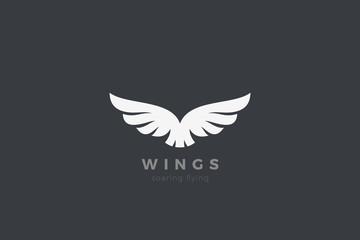 Wall Mural - Eagle Wings Logo design vector template. Luxury corporate heraldic flying Falcon Phoenix Hawk bird Logotype concept icon.